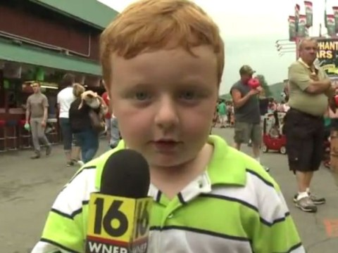 'I don't watch the news because I'm a kid': Child steals the show during live interview