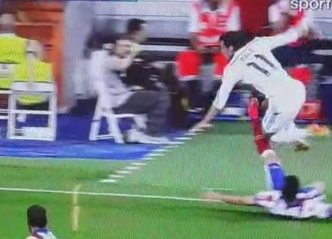 Atletico Madrid's Guilherme Siqueira makes absolutely certain Gareth Bale doesn't get past him in Super Cup clash