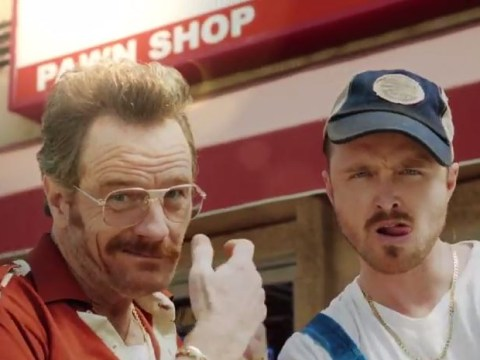 Breaking Bad reunion: Bryan Cranston and Aaron Paul star in Barely Legal Pawn