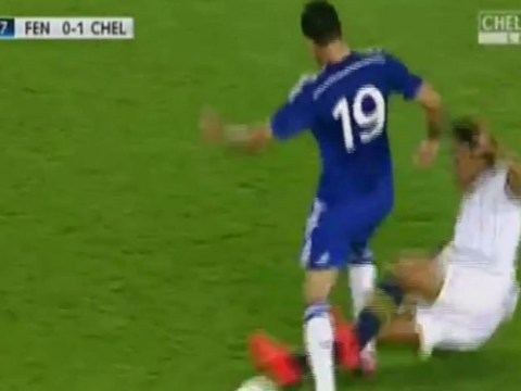 Chelsea striker Diego Costa on the end of a horror tackle in Fenerbahce 'friendly'