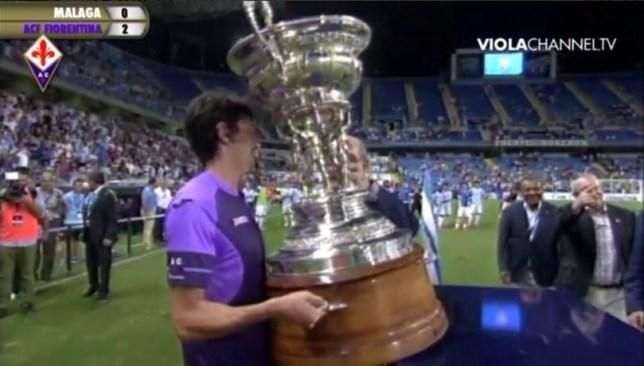 Fiorentina picked up this giant trophy for beating Malaga (Picture: Twitter)