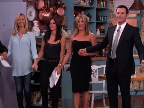 Get ready for the best Friends reunion ever as Jennifer Aniston, Courteney Cox and Lisa Kudrow perform a Jimmy Kimmel skit