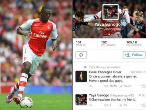 Arsenal striker Yaya Sanogo takes cheeky swipe at Chelsea's Cesc Fabregas on Twitter