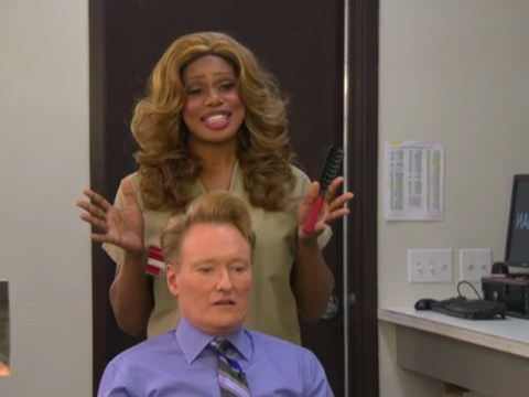 'I'm scared just looking at you': OITNB's Laverne Cox gets to grips with Conan O'Brien's 'clown' hair