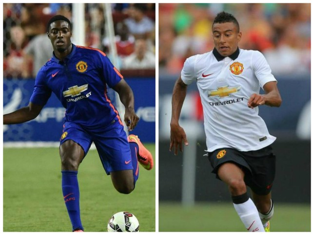Tyler Blackett and Jesse Lingard make their Manchester United debuts (Picture: Getty)