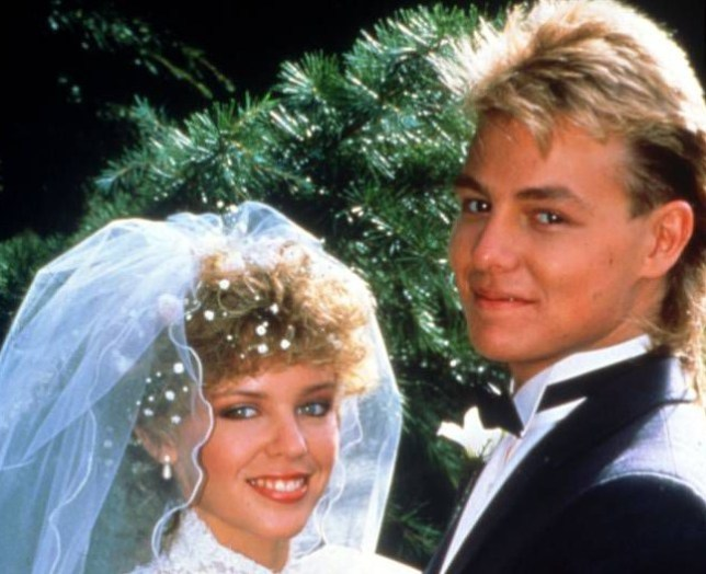 TELEVISION PROGRAMME Neighbours Picture show Kylie Minogue as Charlene Mitchell with Jason Donovon as Scott Robinson