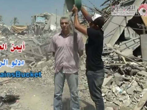 Rubble bucket challenge hopes to draw attention to Gaza conflict
