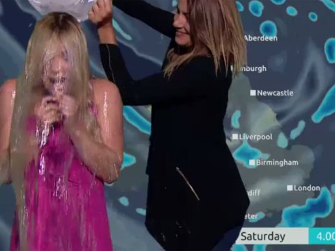 Now this is how you do an ice bucket challenge: Channel 5's Sian Welby gets a soaking mid-forecast