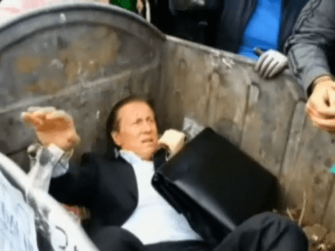 Rubbish day at the office: Ukrainian politician thrown in bin outside parliament