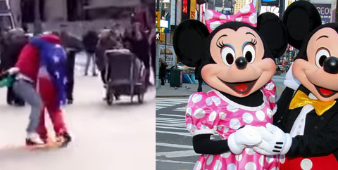 Mickey and Minnie Mouse duke it out with heckler in street brawl