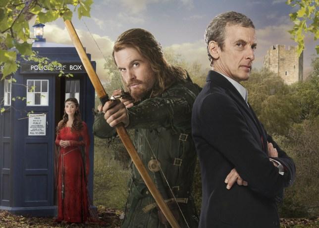 Doctor Who season 8, episode 3: Clara (JENNA COLEMAN), Robin Hood (TOM RILEY), The Doctor (PETER CAPALDI) - (C) BBC - Photographer: Adrian Rogers