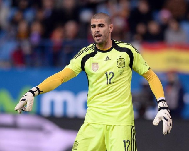 MADRID, SPAIN - MARCH 05: Victor Valdes of Spain reacts during the international friendly match between Spain and Italy at Vicente Calderon Stadium on March 5, 2014 in Madrid, Spain. Claudio Villa/Getty Images