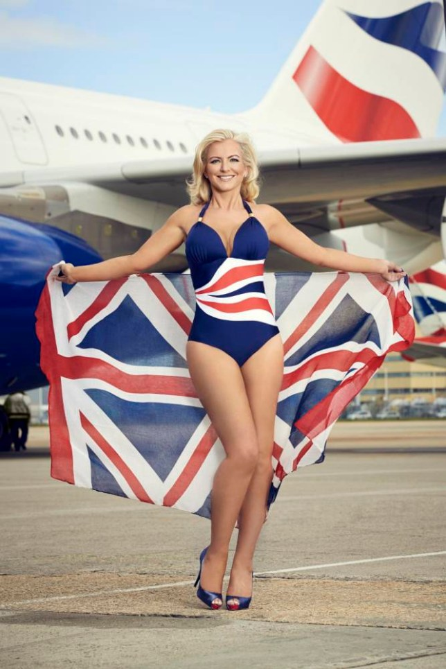 Businesswomen Michelle Mone pictured flying the flag next to an A380 super jumbo. Michelle Mone (42) mimicked 1940s 'nose cone art' as she posed for the camera in her new role as a brand ambassador for the airline, following in the footsteps of Mylene Klass. Wearing a bespoke BA-inspired ultimo swimming costume specially created by her Glasgow-based company. Michelle Mone takes up role as British Airways ambassador.  Michelle Mone takes up role as British Airways ambassador.    (C)2014 DAN KENNEDY - Michelle Mone takes up role as British Airways ambassador.