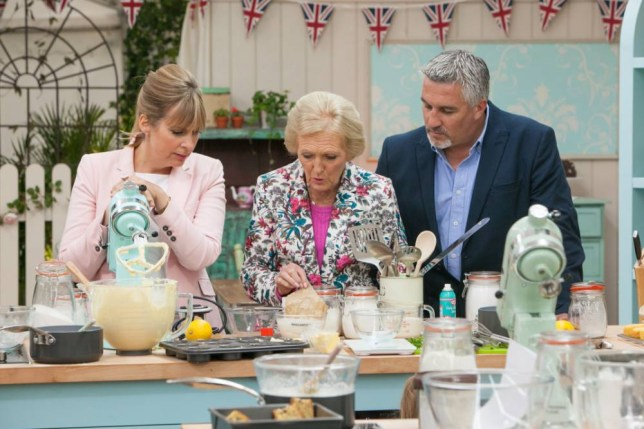 WARNING: Embargoed for publication until: 29/07/2014 - Programme Name: The Great British Bake Off - TX: 06/08/2014 - Episode: n/a (No. 1) - Picture Shows:  Paul Hollywood, Mary Berry, Mel Giedroyc - (C) Love Productions - Photographer: Mark Bourdillon