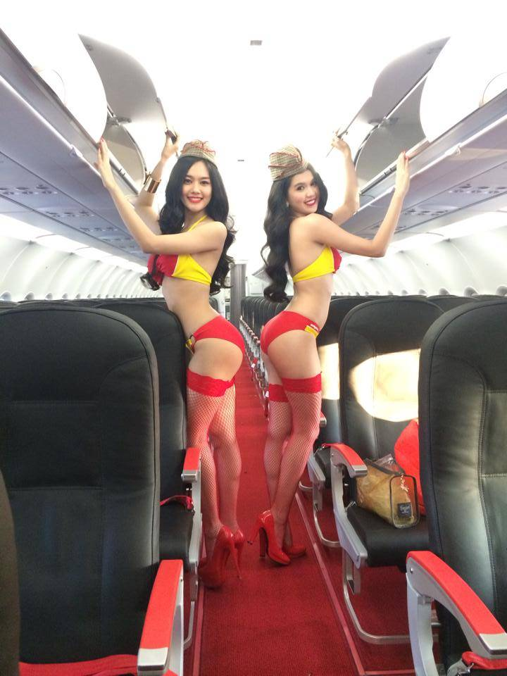 Plane sexy? Lingerie models pose for a VietJet ad campaign (Picture: Do Long/Ngoc Trinh/Facebook)