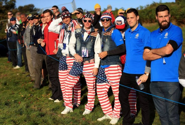 USA fans on the course during the Fourball matches on day one of the 40th Ryder Cup at Gleneagles Golf Course, Perthshire. PRESS ASSOCIATION Photo. Picture date: Friday September 26, 2014. Photo credit should read: Mike Egerton/PA Wire. RESTRICTIONS: Use subject to restrictions. Editorial use only. No commercial use. Call +44 (0)1158 447447 for further information.