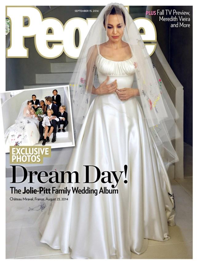 Brad Pitt and Angelina Jolie Wedding Photos cover People Magazine