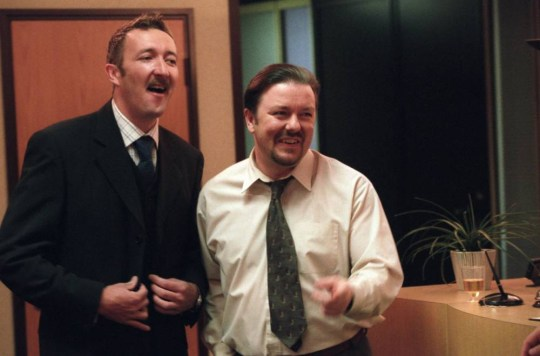 "Television Programme: The Office, with Ralph Ineson as Chris Finch (""Finchy"") and Ricky Gervais as David Brent.    hi001029481.jpg"