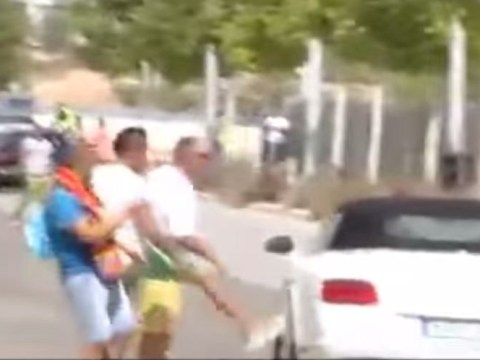 Real Madrid fans try to kick Gareth Bale's car as he leaves training