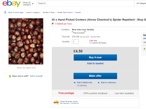 People/idiots are now buying batches of conkers for £4.50 from eBay