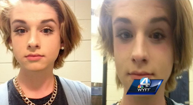 Chase Culpepper was asked to remove his make-up before having his dirver's license photo taken (Picture: WYFF)