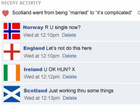 Parody Facebook status of Scotland going from 'married' to 'it's complicated' goes viral
