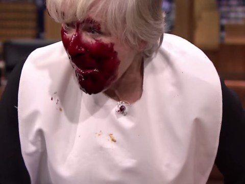 Glenn Close took on Jimmy Fallon in a face-stuffing contest and it made for strangely compelling viewing
