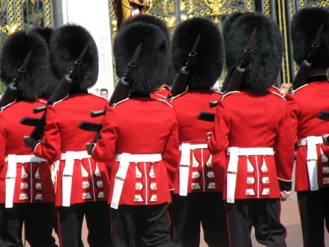 Queen's guard: Silly tunic and big furry hat? I think I'd better dance now