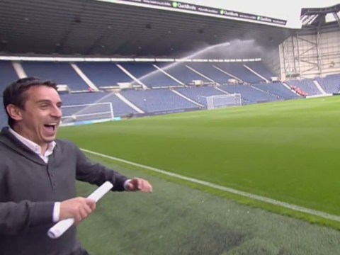 Gary Neville soaked by pitch sprinklers before West Brom's match against Burnley