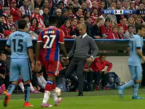 Bayern Munich manager Pep Guardiola disgusts himself with awful pass during Manchester City clash
