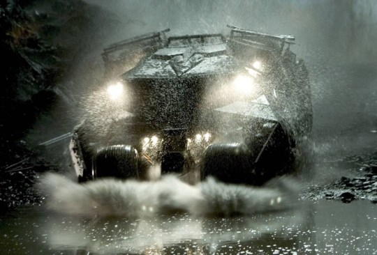 """Film, 'Batman Begins', (2005) Undated handout picture shows the 'Batmobile' driven by character Batman in a scene from  Warner Bros. Pictures' action adventure film """"Batman Begins"""" starring Christian Bale and Katie Holmes. The film opens in the United States June 15 2005. NO SALES  REUTERS/David James/Warner Bros./Handout"""