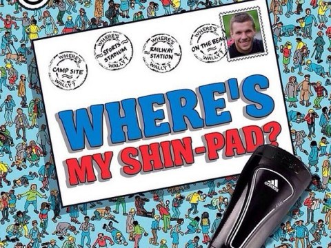 Lukas Podolski mocks his own shinpad blunder with the help of Where's Wally