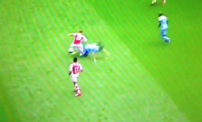 Arsenal's Jack Wilshere destroys Samir Nasri with elbow smash