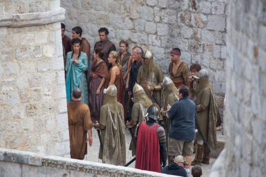 Filming the HBO series 'Game of Thrones'. The eastern entrance to the city is closed and the walls and other parts of the filming area was guarded by security guards. Shooting a scene where Queen Cersei walks through main street naked, which caused strong reactions in the Diocese of Dubrovnik. Featuring: Atmosphere Where: Dubrovnik, Croatia When: 03 Oct 2014 Credit: WENN.com **Only available for publication in UK, USA, Germany, Austria, Switzerland**
