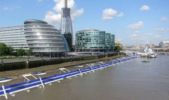 MUST CREDIT: Leon Cole/River Cycleway Consortium/Rex. Editorial use only  Mandatory Credit: Photo by Leon Cole/River Cycleway Consort/REX (4168027a)  View of proposed Thames Deckway as it might appear at low tide in front of City Hall  The Thames Deckway Project, London, Britain - 06 Oct 2014  FULL COPY: http://www.rexfeatures.com/nanolink/pi34  London could get a cycle path that floats on the River Thames within two years.  The idea for the so-called Thames Deckway would see an east-west cycling route through central London on the river?s north side.  Designed for commuter cyclists, leisure cyclists and pedestrians alike and completely traffic-free, it will potentially stretch for 12 kilometres along the river from Battersea to Canary Wharf, a distance that a fit cyclist can pedal in about 30 minutes.  From either Battersea or Canary Wharf to the Thames Deckway?s prospective mid-point of the Millennium Bridge could take as little as 15 minutes on a bike.  The path would complement Transport for London?s plan for a new east-west cycling route through central London on the river?s north side by running a similar route on the south side along the river itself.  The team behind the project is led by a new company, River Cycleway Consortium Ltd.