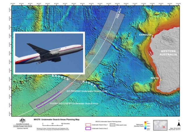 epa04436719 A handout picture made available by the Australian Joint Agency Coordination Centre (JACC) on 08 October 2014 shows the underwater search areas for missing Malaysia Airlines flight MH370 in the Indian Ocean, off Western Australia. The search for missing Malaysian Airlines Flight MH370 entered a new phase as special vessels arrived in the southern Indian Ocean to probe canyons and peaks 6,000 meters under the surface of the ocean. The new search began after months of technical analysis and mapping of the sea floor in a huge area where the plane carrying 239 people is believed to have gone down. The 60,000-square-kilometre search area is 1,800km south west of Perth, a thin but long line indicated by the last contact with the plane that disappeared on 08 March 2014. The initial underwater search areas have been allocated to different search vessels. The first area is currently being searched by GO Phoenix, and the second has been assigned to the Fugro vessels.  EPA/JACC  HANDOUT EDITORIAL USE ONLY/NO SALES