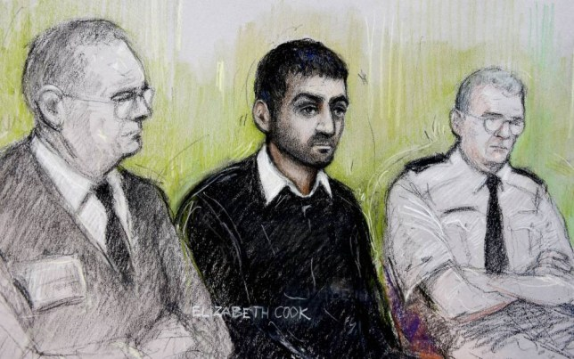 Court artist sketch by Elizabeth Cook of Erol Incedal (centre),formerly known in the case as AB, appearing at the Old Bailey accused of preparing acts of terrorism and possessing a document entitled Bomb Making, the case is the first major terror trial in the UK to be heard almost entirely in secret. PRESS ASSOCIATION Photo. Picture date: Monday October 13, 2014. See PA story COURTS Terror. Photo credit should read: Elizabeth Cook/PA Wire