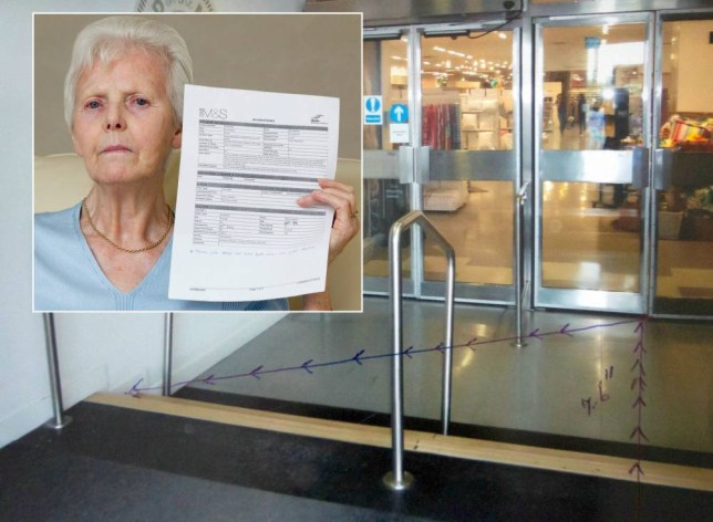 The new automatic doors at Marks and Spencer in Birmingham City Centre that have been replaced since Mary Adams was trapped in the old ones.  A pensioner says she is suing Marks & Spencer after she broke her back in a freak accident when she was flung 7ft through the air -  by an automatic DOOR.  See NTI story NTIDOOR.  Mary Adams was left with a fractured spine after becoming trapped in the sliding electronic door at the retail giant's store in Birmingham city centre.   The 80-year-old was shopping for ready meals on November 21 last year when the doors at the rear of the store slammed shut on her as she left.  As they reopened again the retired WHAT claims she was then catapulted 7ft through the air and slammed into a wall.  She then passed out after hitting her head on steps outside the M&S store and suffered bruises to her head, neck and rib cage.  After being treated at the scene she was later diagnosed with a fractured spine and says the stress of the ordeal caused her to suffer a mini stroke.