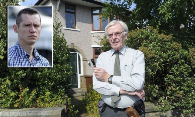 """Martin Holtby outside his home holding his Mag Light torch which he used to wake the intruder. Mary Dyson and John Holtby returned from holiday to find a """" Goldilocks"""" intruder, asleep in their bed, after he had broken in and used their house as a"""" cosy little hideaway"""". Lukasz Chojnowski, 28, who is Polish, doesn't speak much English and was a complete stranger to them, had had a perfumed bubble bath, cooked some food and, unlike many burglars who ransacked their targets, had kept the house neat and tidy. The pair were confronted by the """"extraordinary and bizarre"""" situation when they arrived back just before midnight on July 14 and found Chojnowski had made himself """" very much at home."""" The hearing was told how the defendant had """"weapons"""" - a metal claw hammer, a knife, a truncheon and some scissors - around him and a judge, who let him walk free from court, said he thought Chojnowski had been desperate for somewhere to live and was probably hiding and afraid. Chojnowksi, admitted burglary and theft of food, drink and utilities and had been committed for sentence by Pennine magistrates. The defendant, more recently of Cateaton Street, Bury, was given a two year conditional discharge and must pay £200 costs."""
