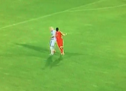 Chelsea's Diego Costa takes just minutes to get well acquainted with Martin Skrtel during Slovakia v Spain