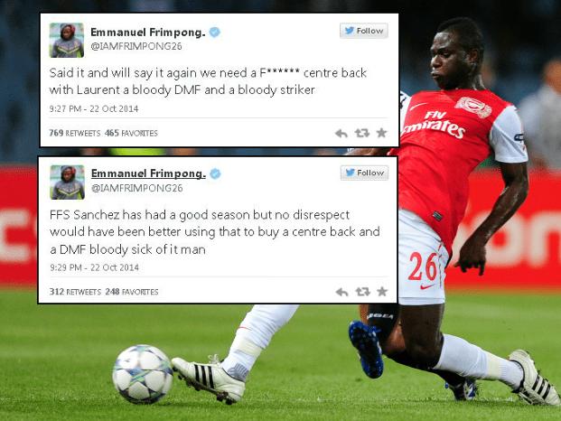 Emmanuel Frimpong ruthlessly attacks Arsene Wenger over Arsenal transfer record in Twitter rant