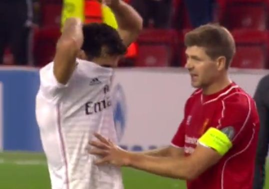 Steven Gerrard shows Mario Balotelli how it's done at Liverpool by refusing to swap shirts with Alvaro Arbeloa
