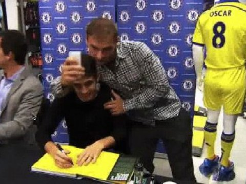 Branislav Ivanovic brilliantly surprises Oscar at book launch – and even takes selfie with Chelsea teammate