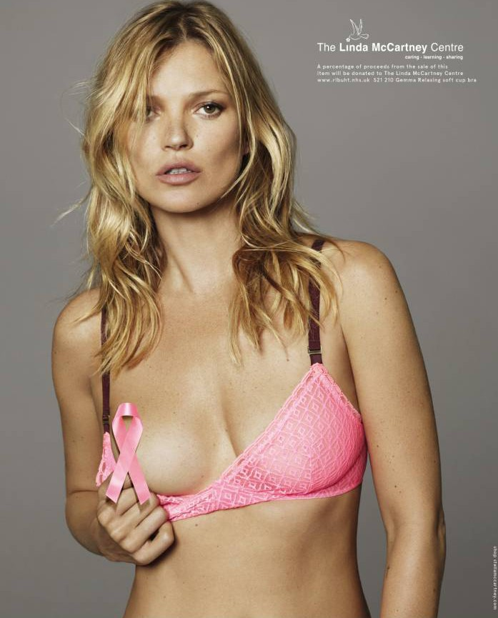 Kate Moss supports Breast Cancer Awareness month with Stella McCartney undies and a strategically placed pink ribbon
