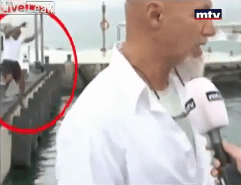 Comic fall interrupts Lebanese television interview