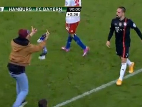 Franck Ribery gets slapped in face with scarf and ruthlessly abused by brutal pitch invader