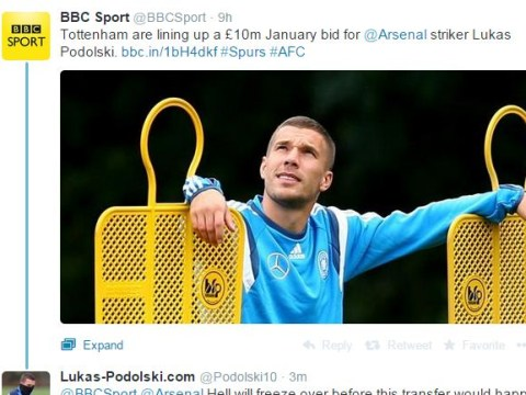 Arsenal's Lukas Podolski rubbishes Tottenham transfer link with one awesome tweet
