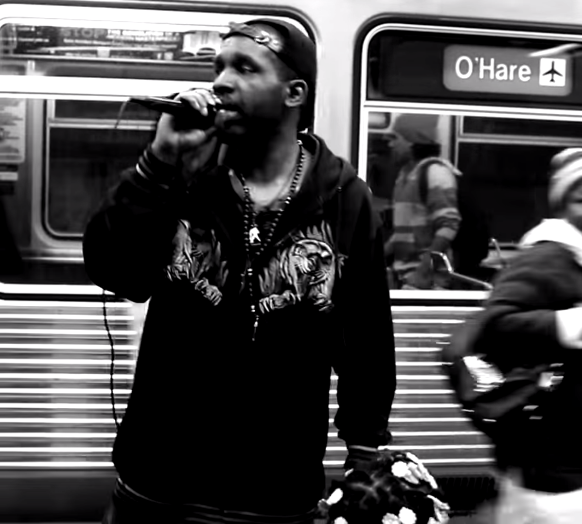 Joseph 'Solow Redline' performing on the Chicago Subway (Picture: Solow Redline / hiphopkiosk)