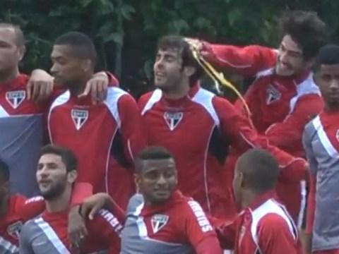 Alexandre Pato and Kaka basically use Sao Paulo training to egg each other