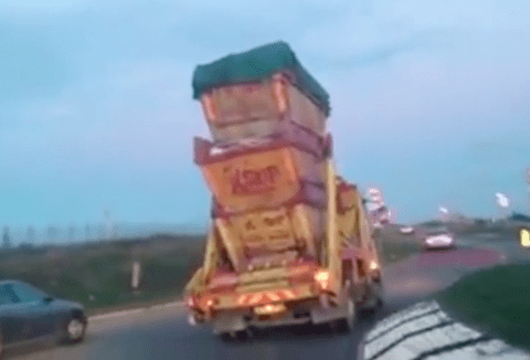A man in Kent found the only driver who thinks three skips on a truck is a good idea